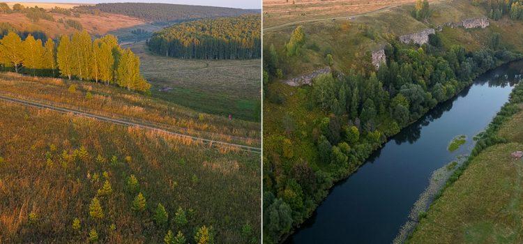 Скальный массив «Камень» на реке Немда, фотографии с квадрокоптера
