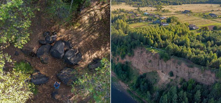 Жуковлянские валуны и Соколья гора, фотографии с квадрокоптера